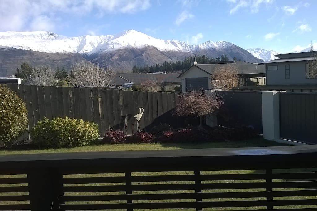 View of mountains from garden