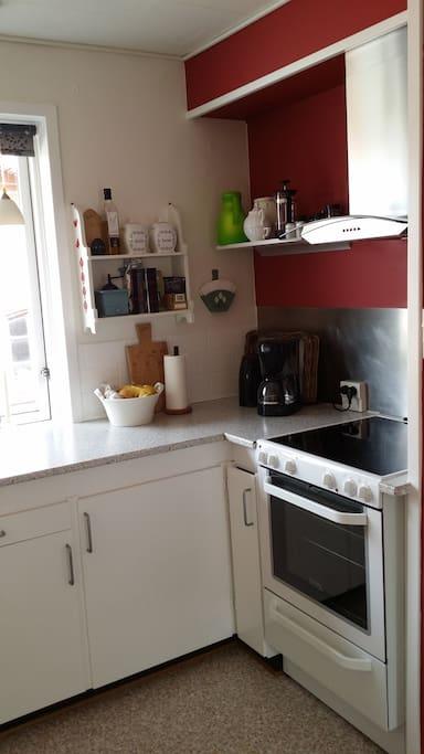 Køkken med gratis kaffe, the og frugt, samt mulighed for selv at tilberede maden.