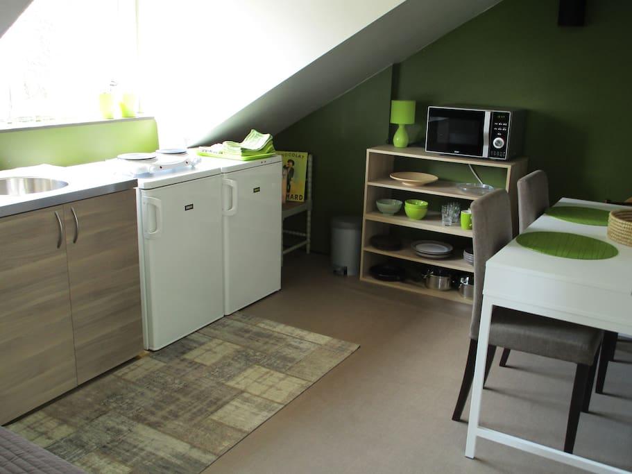 Kitchenette met gootsteen, dubbele kookplaat, combi-oven, koelkast, diepvries, serviesgoed en handdoeken