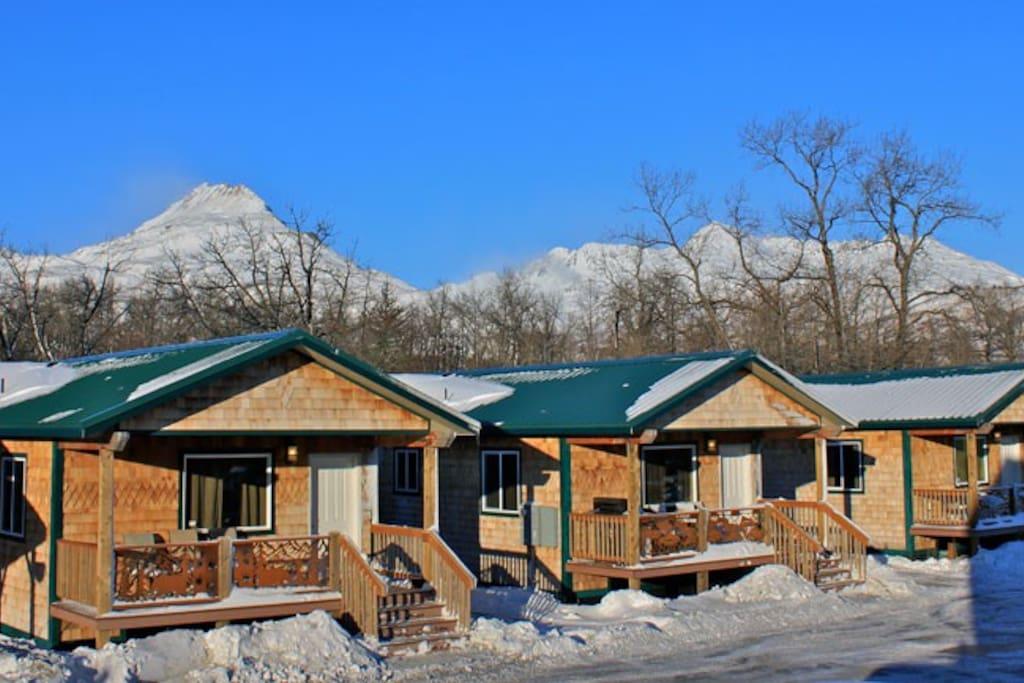 Twin Bear Cabin on left