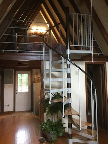 Spiral stair case leading to the Loft sleeping area