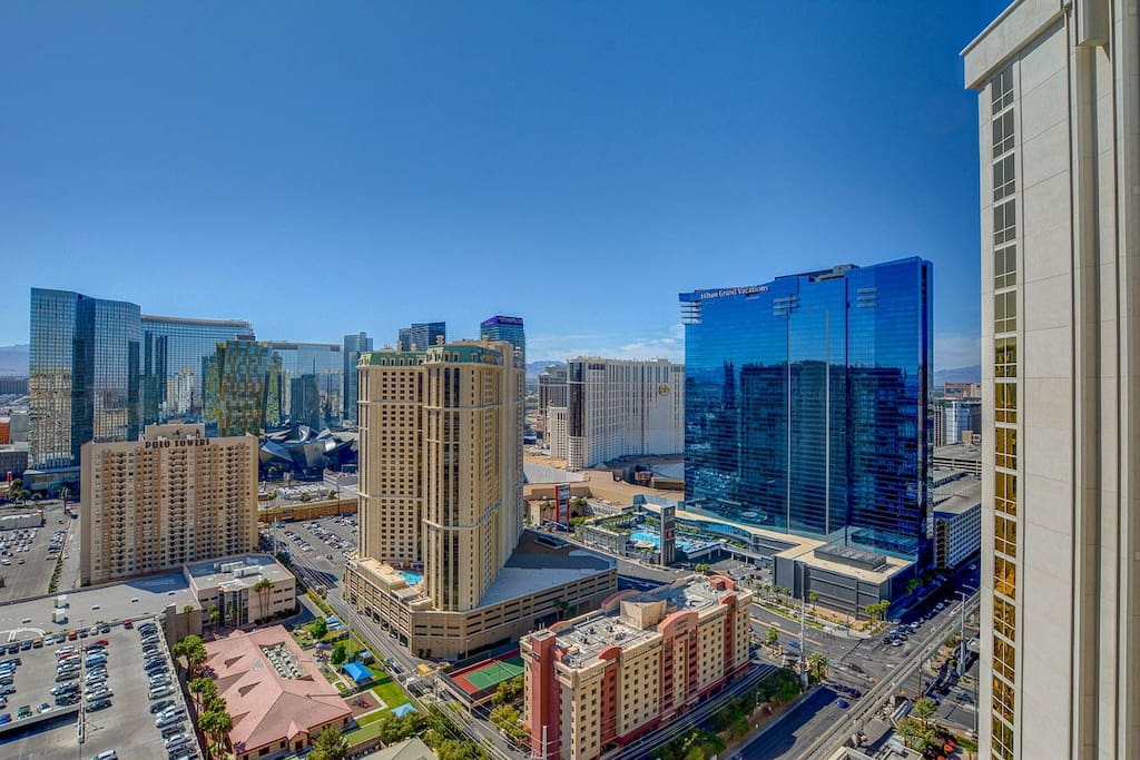 Your Las Vegas strip view from your private balcony on the 31st floor, penthouse level.