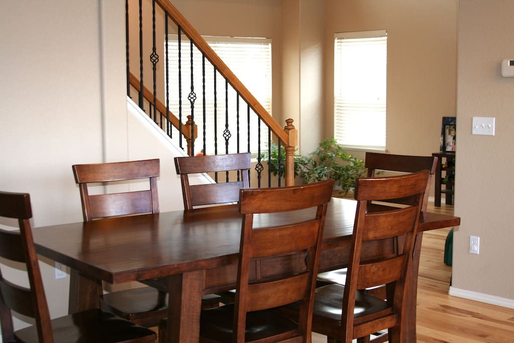 Large dining table. Open concept home.