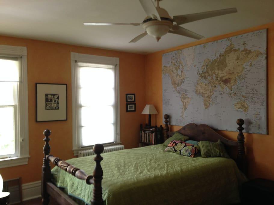 Comfortable queen bed in large bedroom