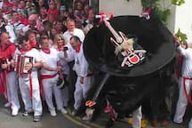 """The traditional May Day celebrations in Padstow....the locals enjoying singing and dancing whilst following their """"Oss"""""""