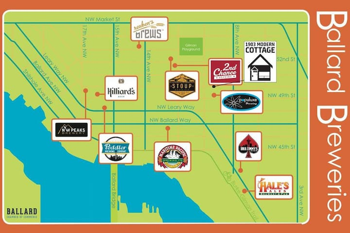 The epicenter of Ballard Nano Breweries is not far from our location at 17th and Market St.