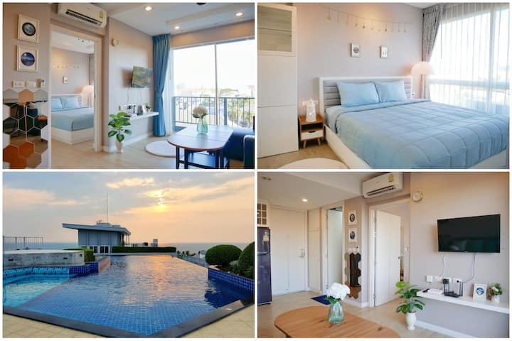 Luxury 1 bedroom & rooftop pool with sea view