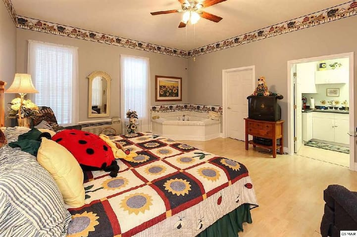Rendezous at Bella Villa Sunflower Suite.  Enjoy a private, detached suite with King bed,  large in-room Jacuzzi tub and private bath (w/shower) and a kitchenette.  Great getaway.