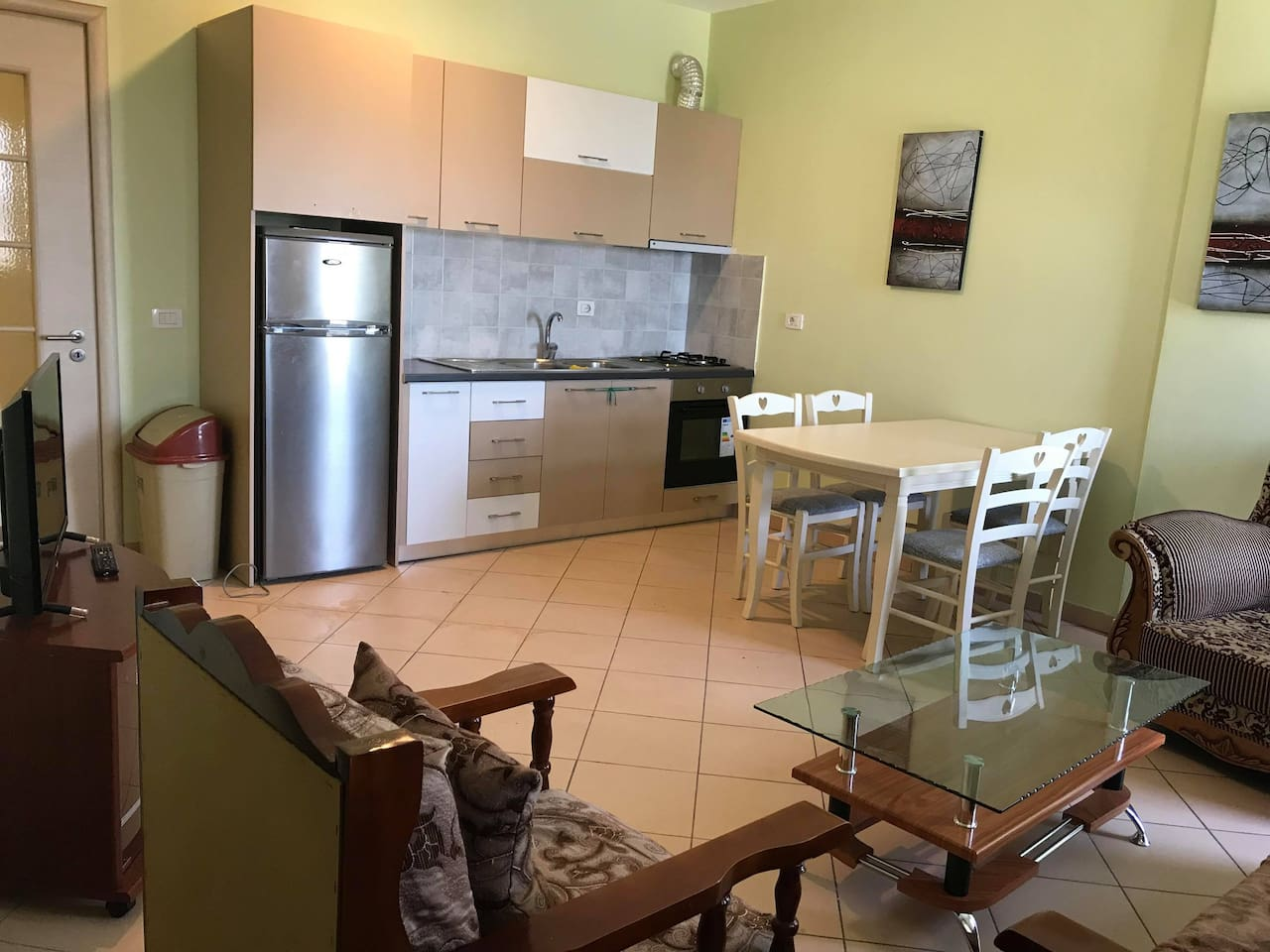 The kitchen is on a contermporary style with modern equipments where you can enjoy cooking and eating and also relaxing through using the wifi or watching tv. The views from the living area are relaxing and peaceful.
