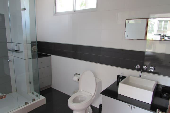 Bathrooms are neat and minimalistic. (Lower floor visitor's bathroom)