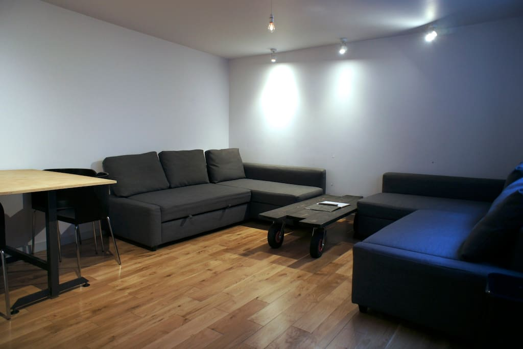 Heres' the Living Room with Two Double Sofa Beds