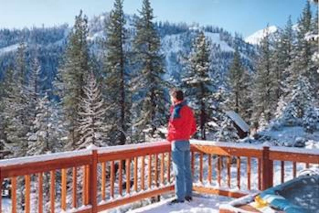 Huge deck overlooking gorgeous Squaw Valley.