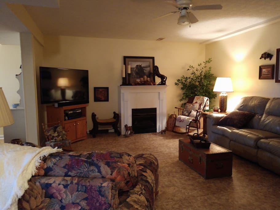 Snuggle up for a night at the movies, while the soft flames from the gas fireplace and the reclining leather couch lull you into that peaceful place you seek. Chose from Direct TV,  DVR or VHS. Movies stored under television.