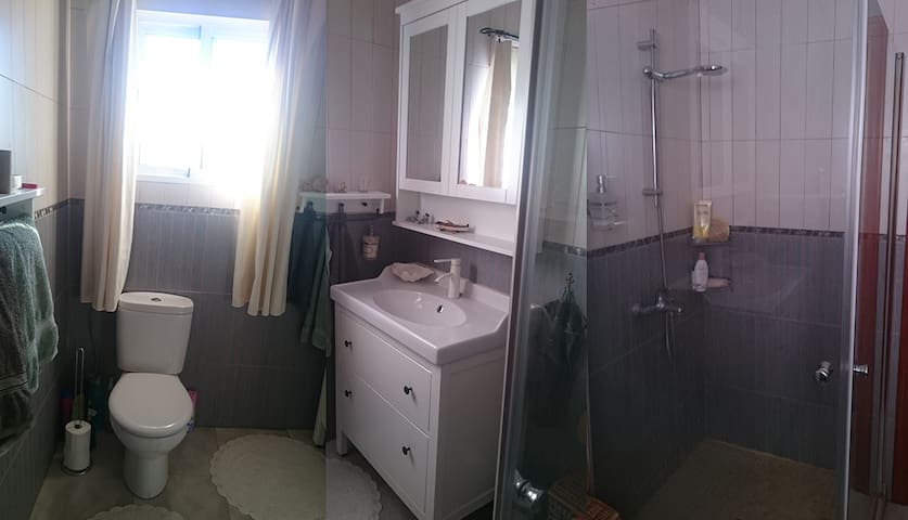 Panoramic view of the shared bath room.
