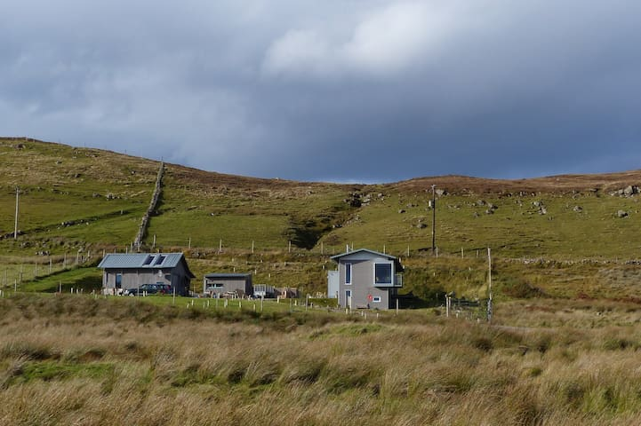 The view of our house, Nigel's studio and my crafting shed in the middle as you see it from the bottom of our track.