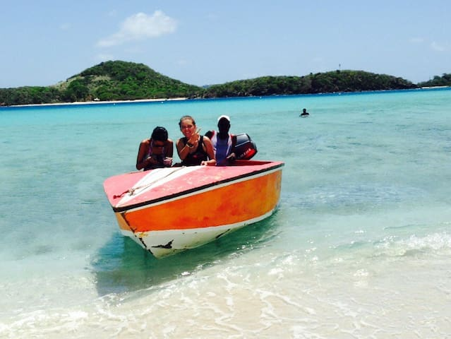 My guests and i on a boat trip in the Tobago cays.. Yes boat trips to the cays and neighbouring grenadines islands can be arranged.