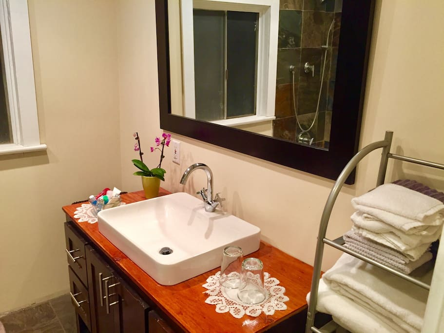 Bathroom sink with high end fixures, vanity and mirror.