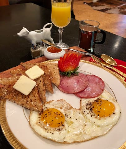 The Iron Skillet Breakfast--start your morning off with a home cooked meal.