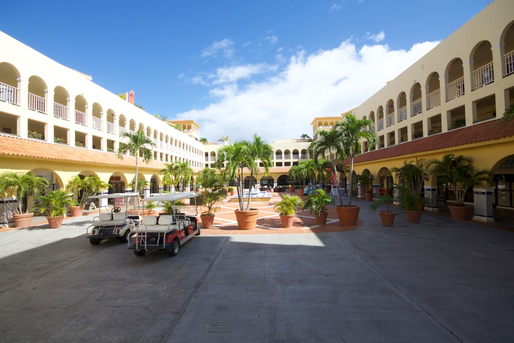 The Plaza with Restaurants and market.