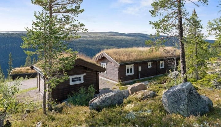 Koselig hytte med anneks, høy standard og utsikt.