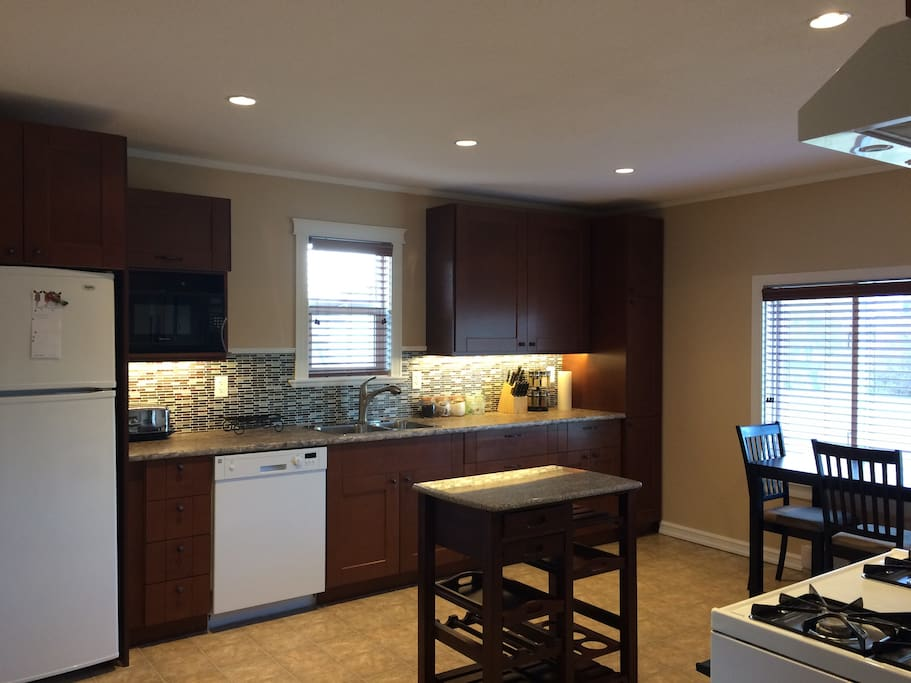 Kitchen with dishwasher, gas range, fridge and microwave