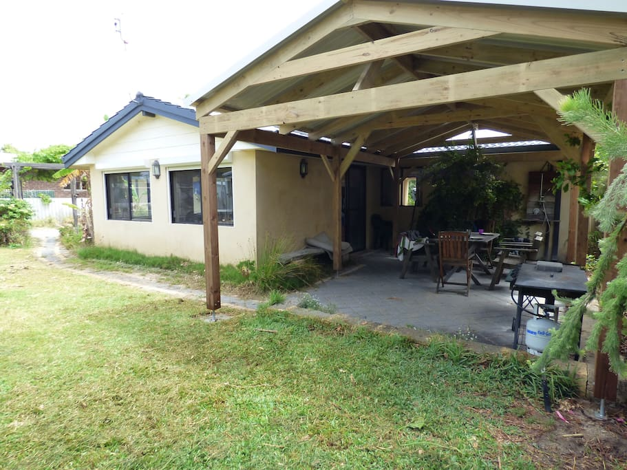 Big new patio at the back of the property