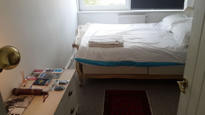 Double room, Queen bed with private bathroom.