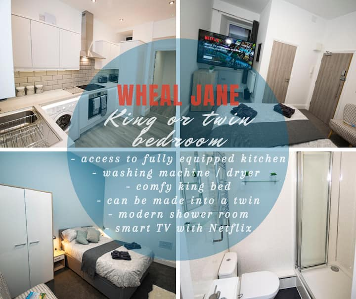 Wheal Jane - gorgeous ensuite bedroom with access to a stunning kitchen