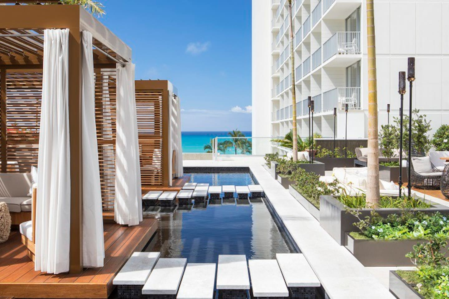 Swell pool deck and cabanas