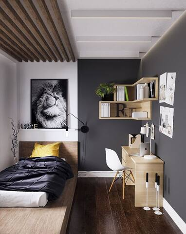 A very small and simple room for a long stayer.