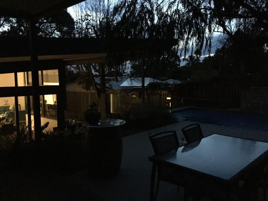 Pool house porch in late evening
