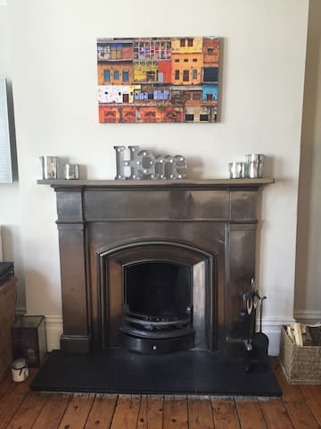 Our lovely fire place in the lounge
