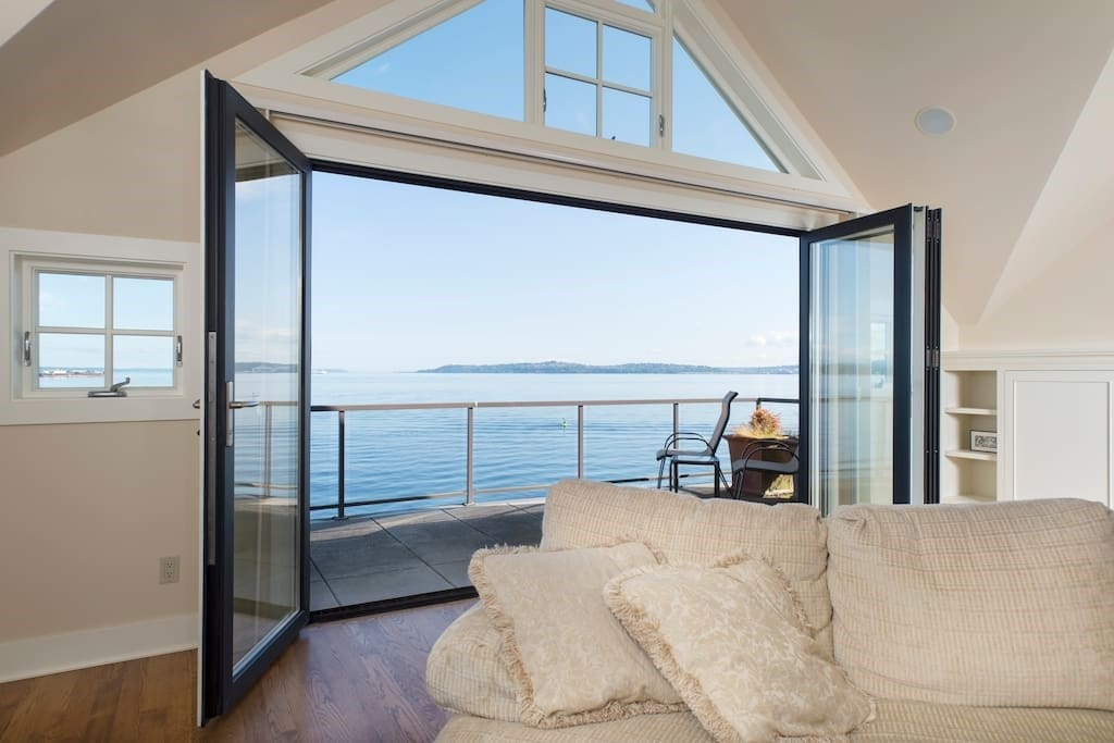 The Great Room opens onto a deck overlooking the Puget Sound