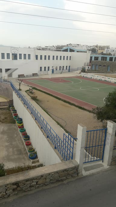 open court for basketball near to the house