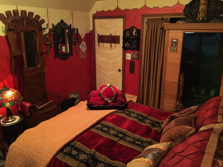 View from the far side of the Bohemian Boudoir. Entrance door on the left; Infrared Sauna on the right.