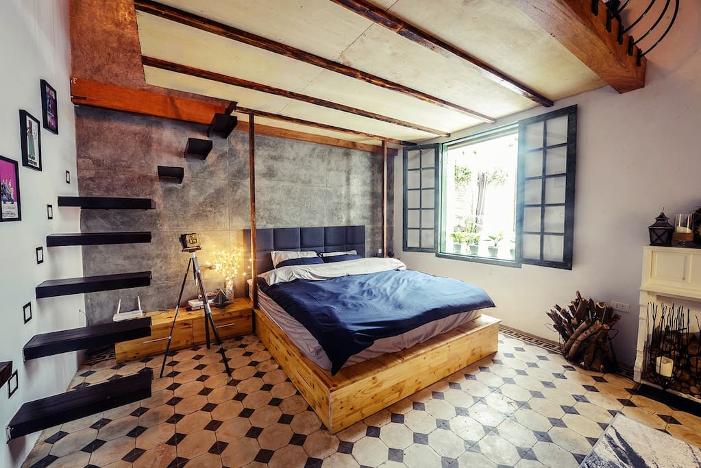 A cozy and rustic bedroom space