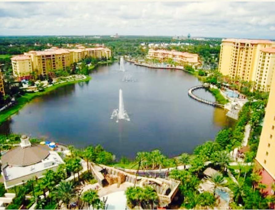 You can see the Disney fireworks from the resort, which includes five pools, two lazy rivers, two water slides, activities, work out rooms, arcades, mini golf, shops, and more.