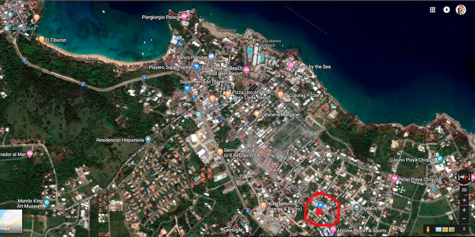 Where is the apartment located in sosua