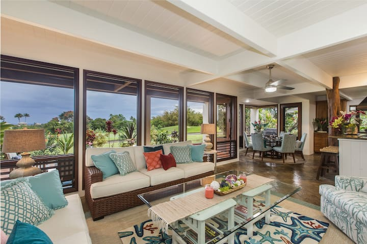 The Living Room - Floor to Ceiling Windows - Ocean Vista & Golf Course Views