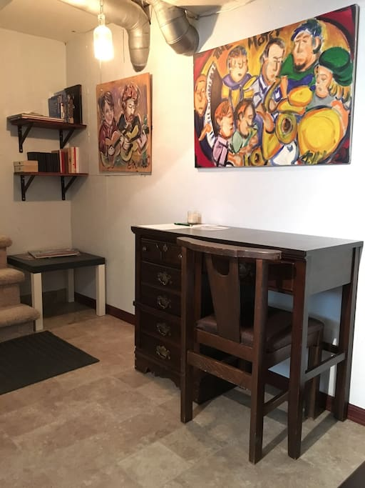 Desk for working on your laptop or writing. Stocked with maps, guides, and games.