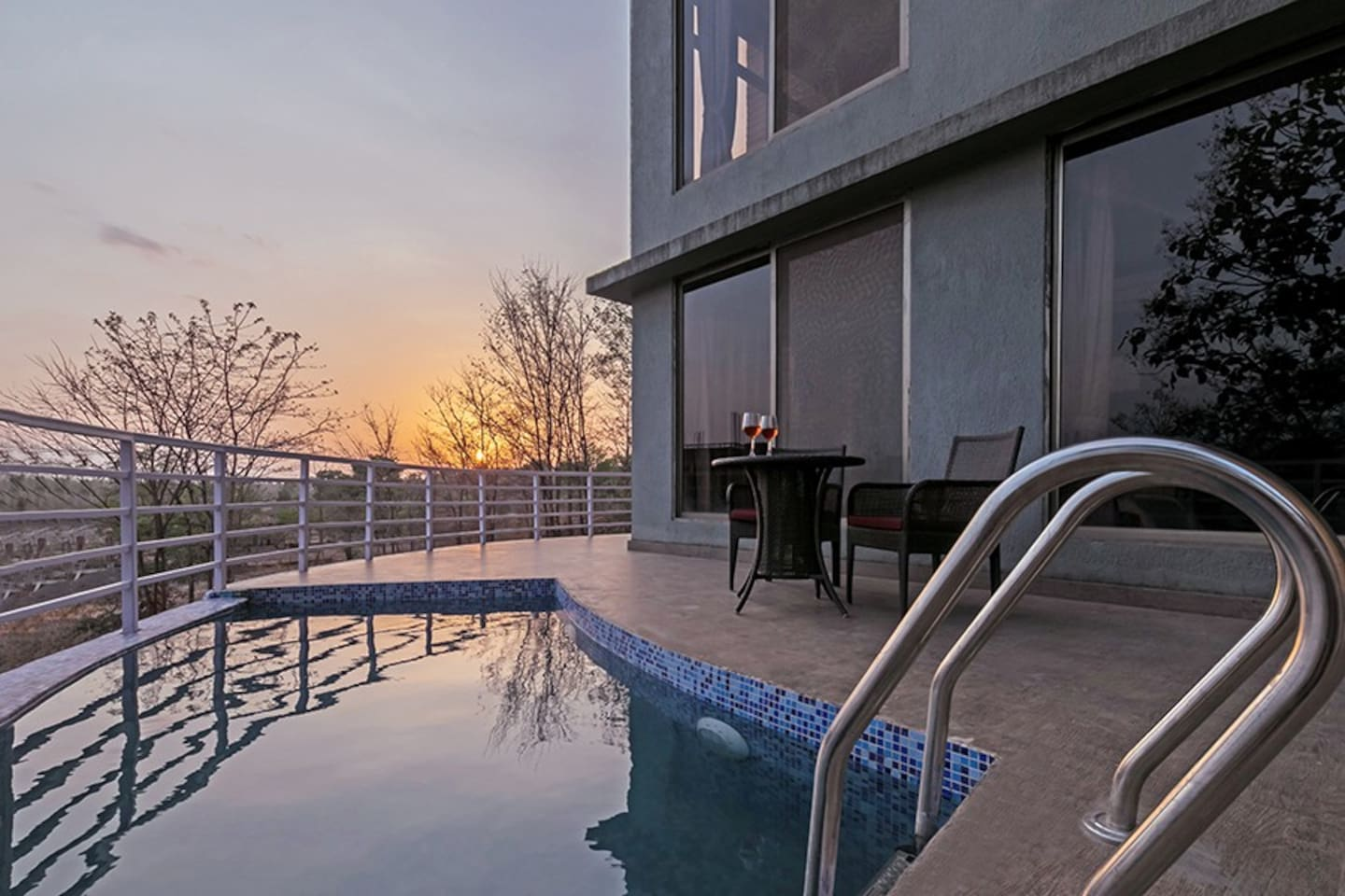 Terrace with a pool & Sunset view