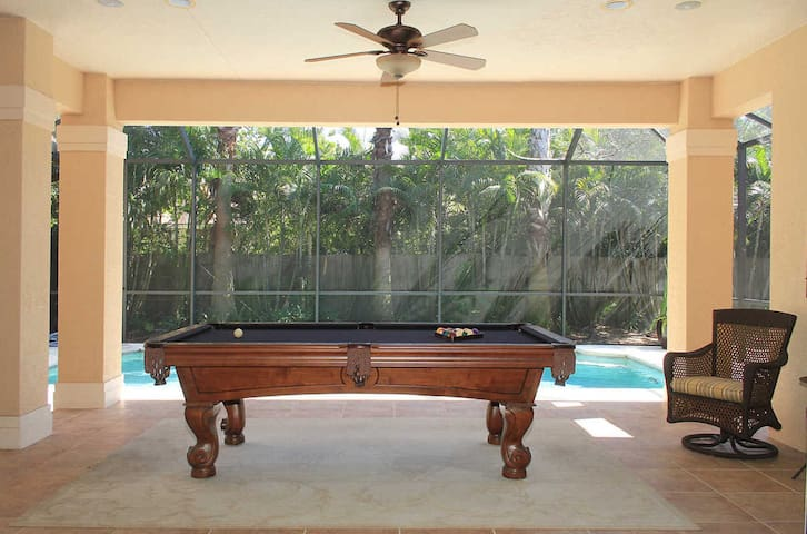 Private vintage pool table in the Florida sun