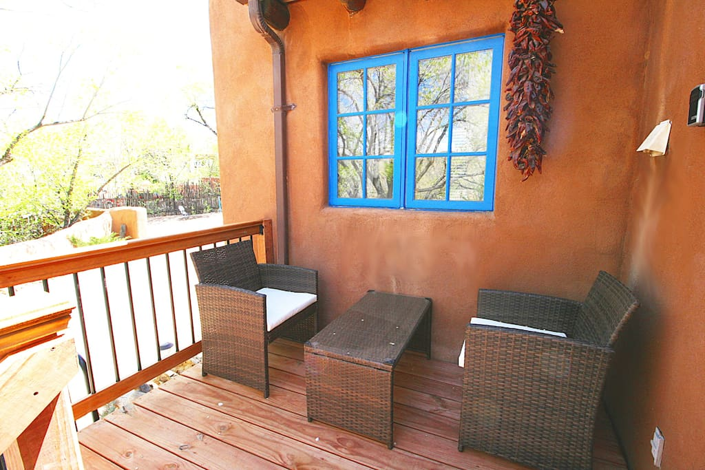 Deck with seating for two