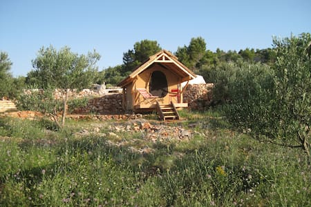 """Glamping hut """"Perun"""" in olive grove with sea views"""