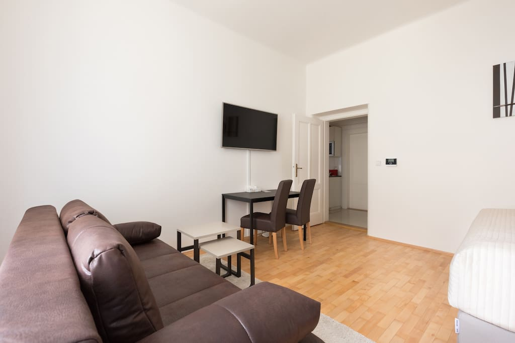 The room is large (21m2) and bright and has wooden floor and high ceiling.