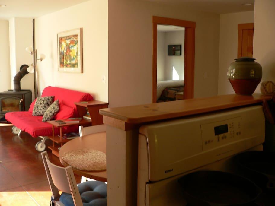Living room, bedroom from kitchen