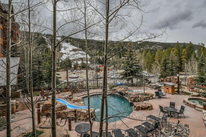Springs pool with waterslide and waterfall