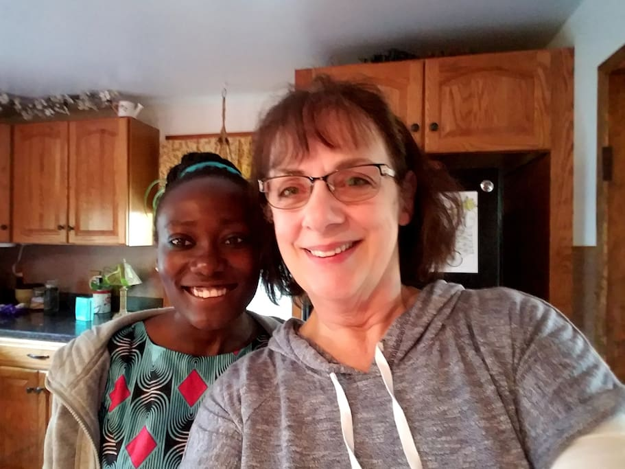 In my kitchen with a house guest from Malawi