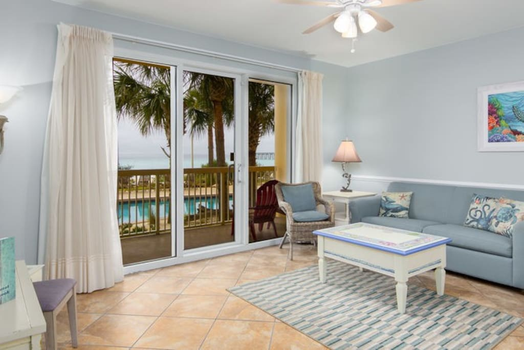 Calypso 103W is a 1 bedroom condo on the ground floor. No waiting for elevators
