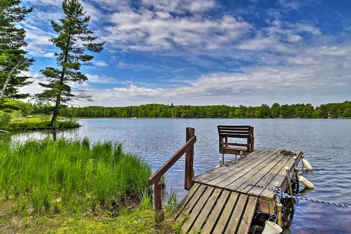 Burns Lake Cabin w/Dock, Fire Pit, Rowboat & More!